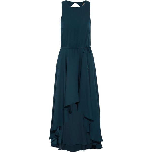 Haute Hippie Asymmetric silk-chiffon dress (260 CAD) ❤ liked on Polyvore featuring dresses, blue, haute hippie dresses, drapey dress, blue dress, drape dress and draped open back dress