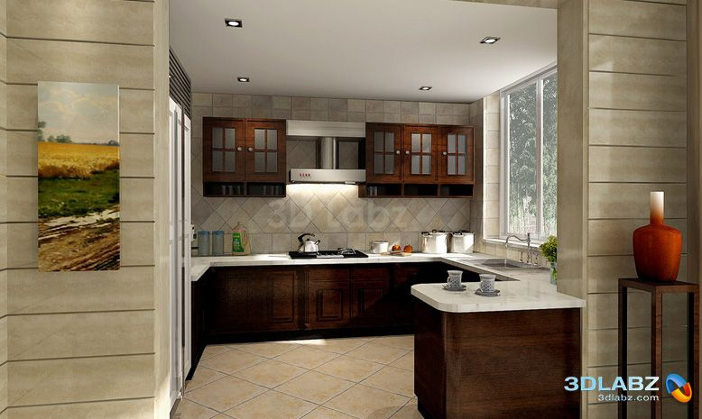 Kitchen Interior Design | ... Kitchen Interior - 3D Perspective view for  the interior