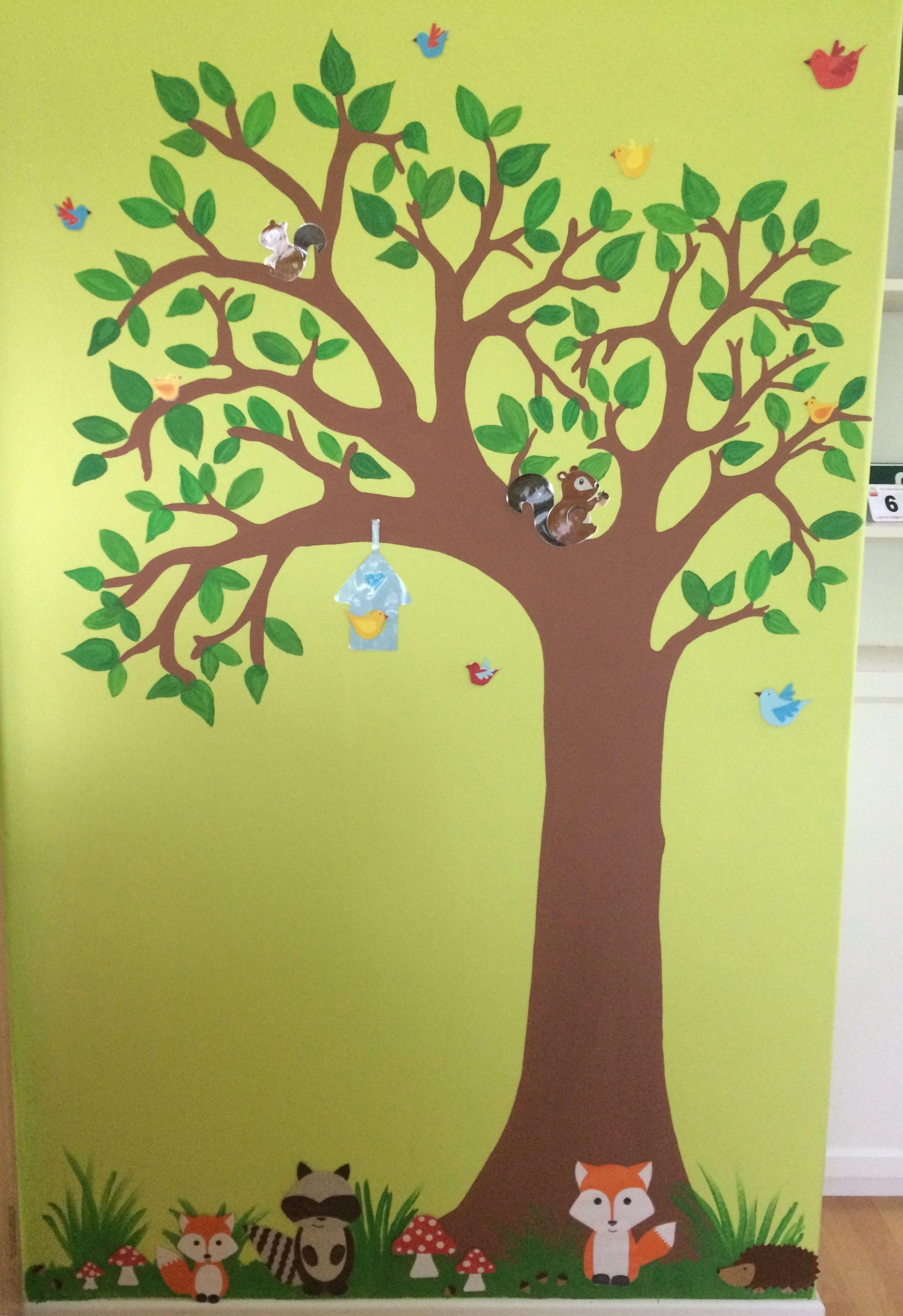 Wandgestaltung Baum Wald Tiere Diy Kinderzimmergestaltung Der Baum