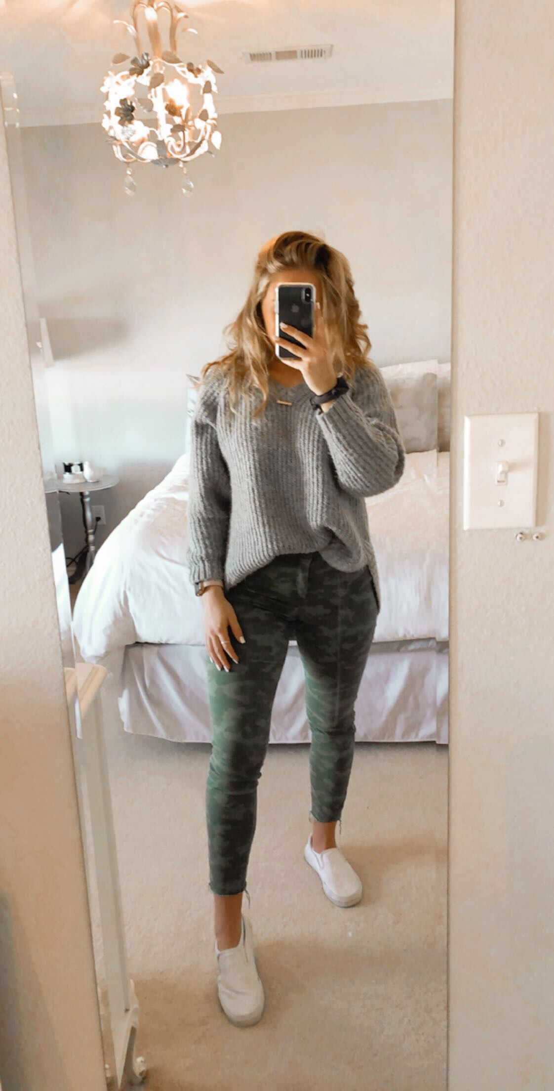 camo/sweater pair