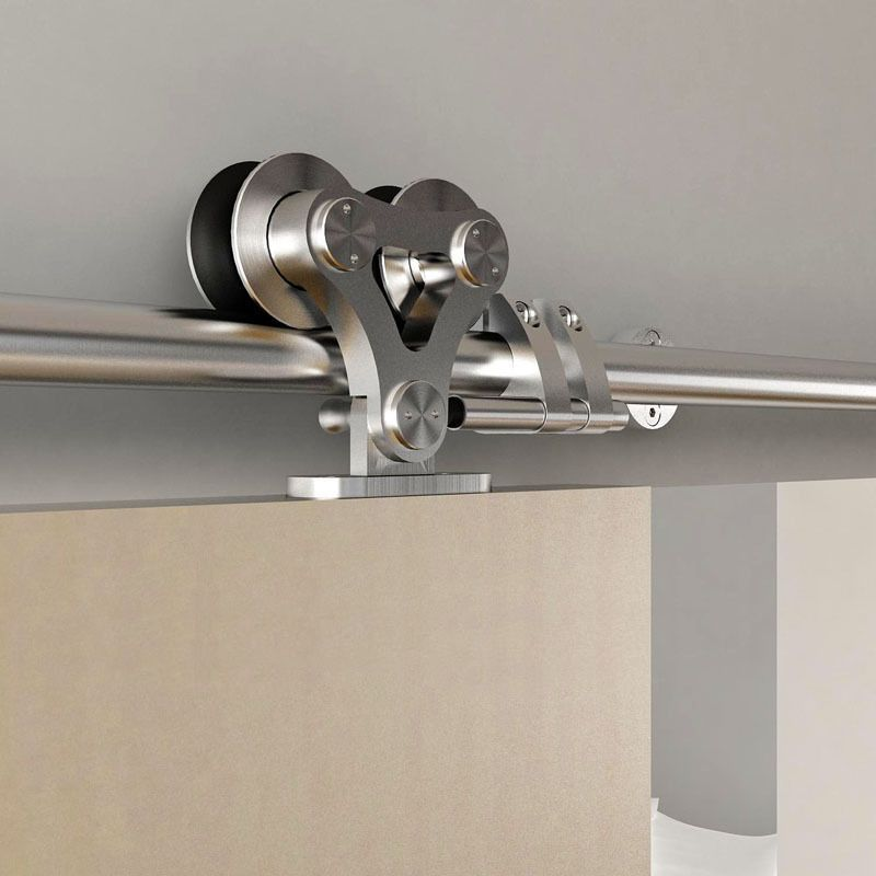 Top mounted stainless steel double head roller sliding for Sliding barn door rollers