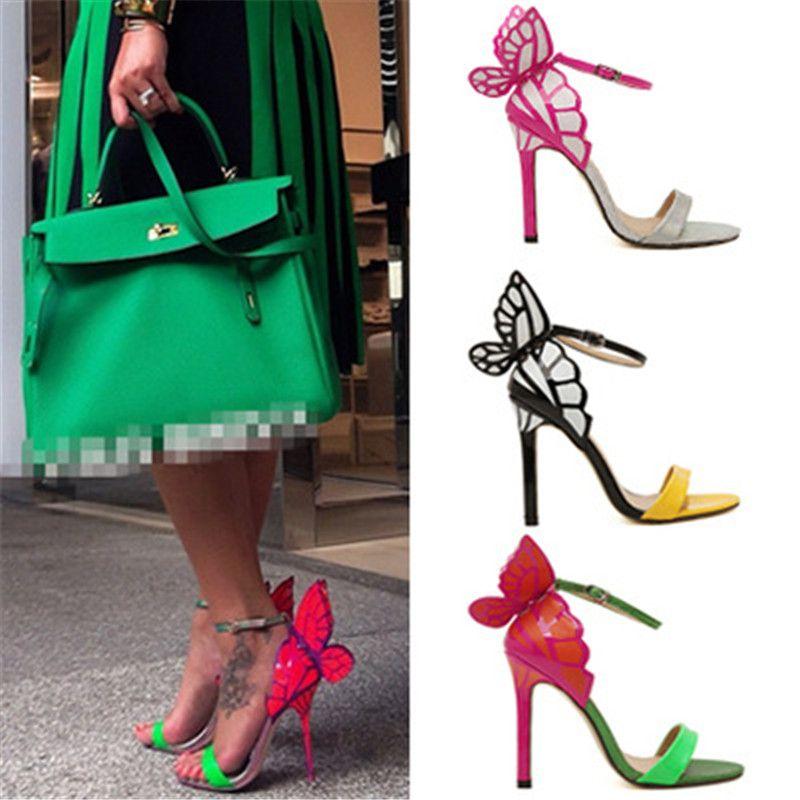 0ff47a08f Barato 2018 Primavera Sexy Mulheres Asas de Borboleta Sandálias de Salto  Alto Mulher Peep Toe Sapatos