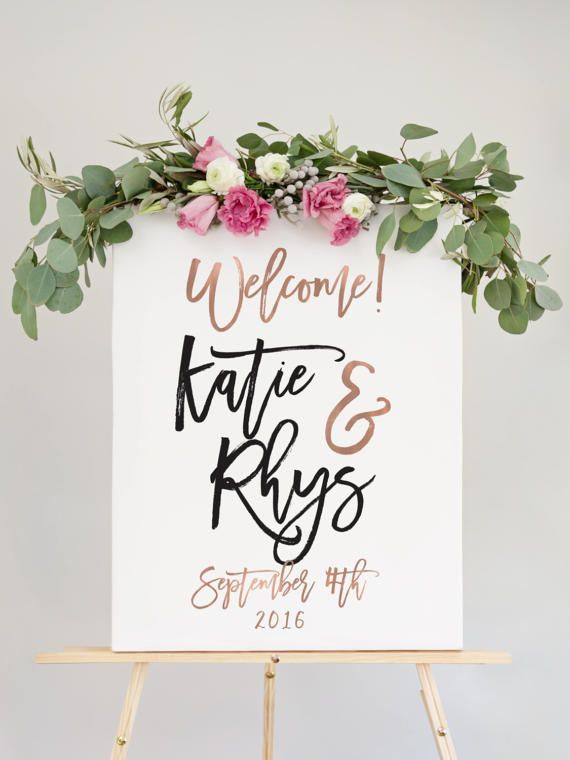 Rose Gold Wedding Welcome Sign For Reception Entrance