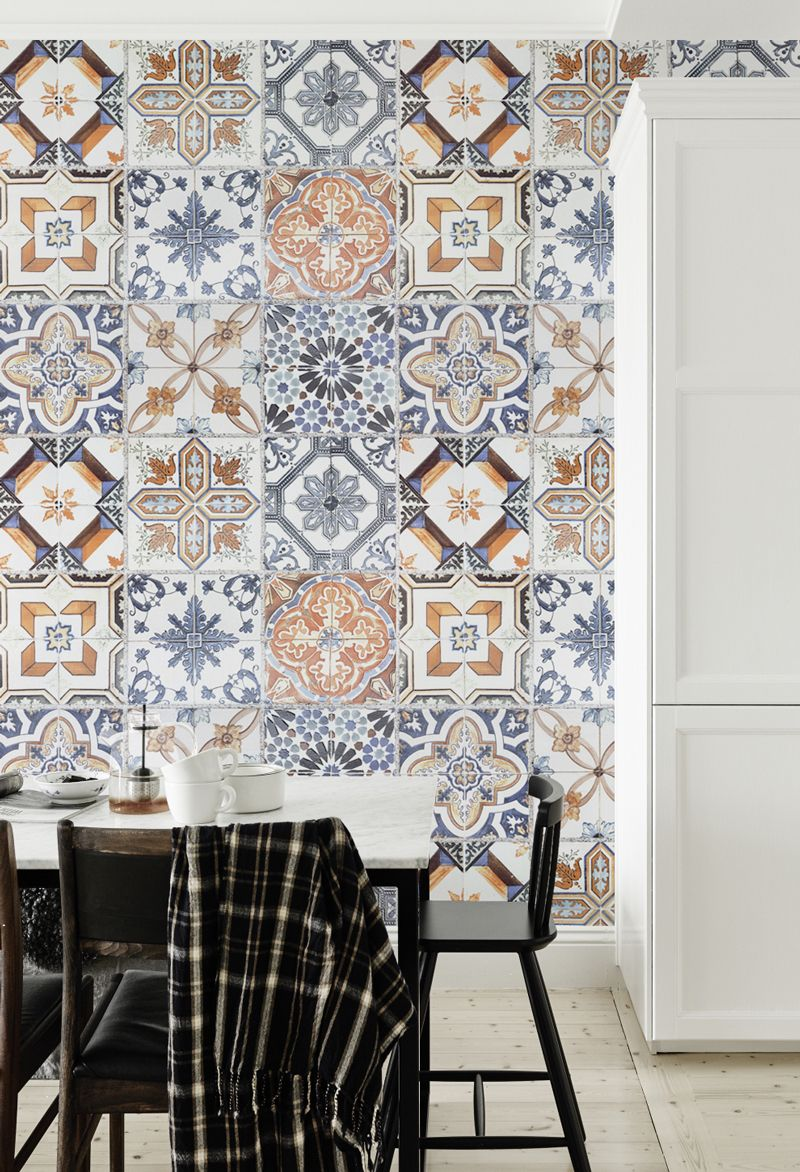 tile effect kitchen wallpaper multicoloured portuguese tile effect wallpaper 6134
