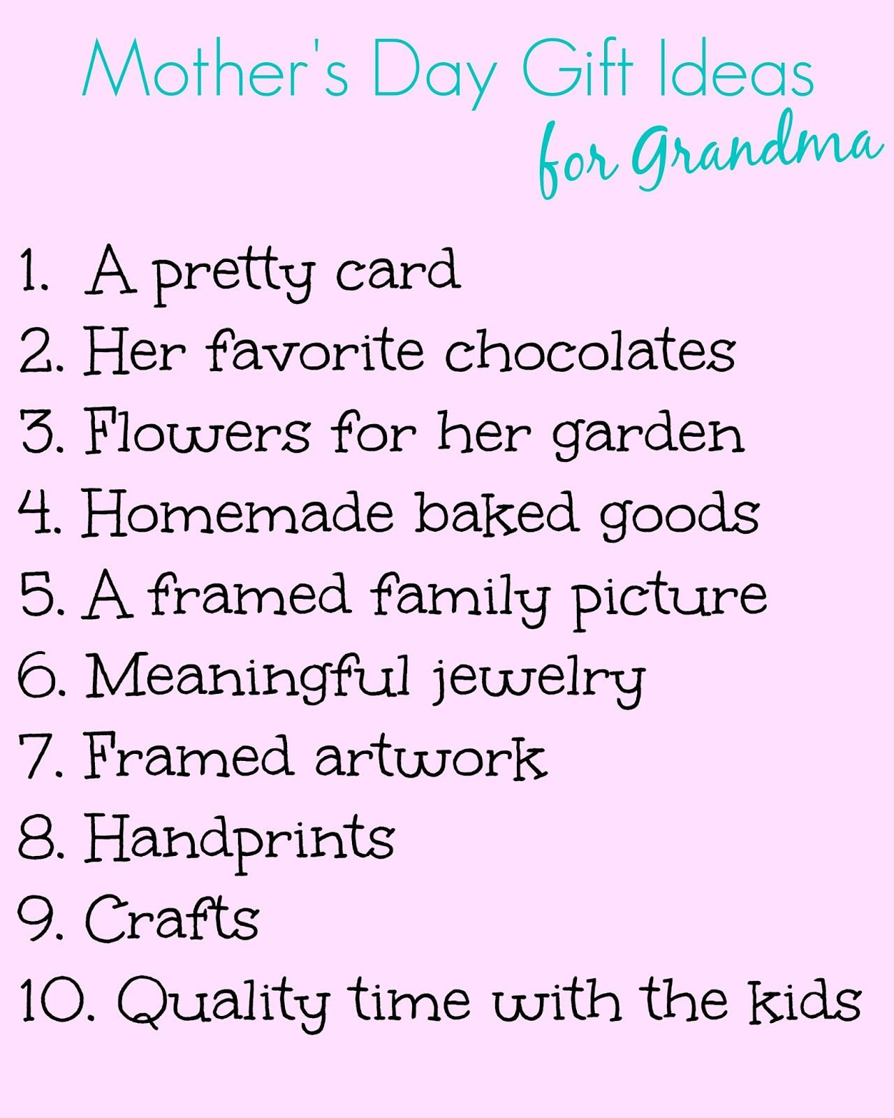 58563f8c166a Top 10 List of Easy Mother s Day Gifts Ideas for Grandmothers via   clairecervino. Best Moms Day Ever SWEEPS