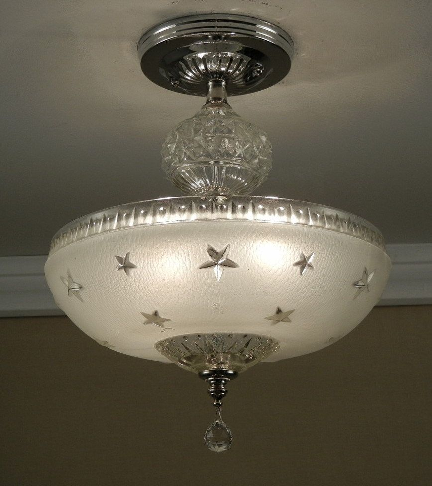 Vintage 1930 40s soft white stars compass nautical pressed glass vintage 1930 40s soft white stars compass nautical pressed glass semi flush ceiling 2 light arubaitofo Gallery