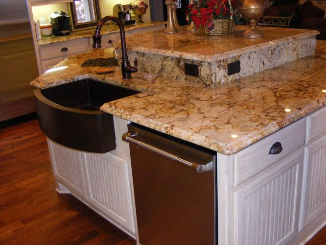 Golden Beach Granite With A Copper Sink Beaches Photo This