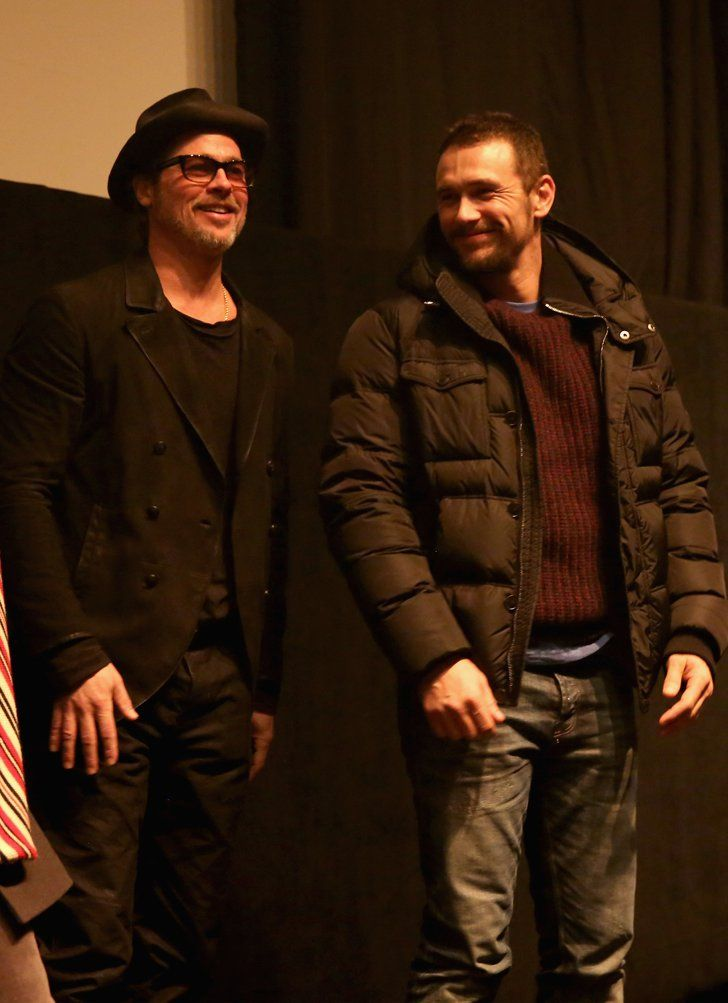 Pin for Later: See How Hollywood Has Heated Up Park City For the Sundance Film Festival  Brad Pitt and James Franco hit the stage together at the True Story premiere at the Sundance Film Festival.