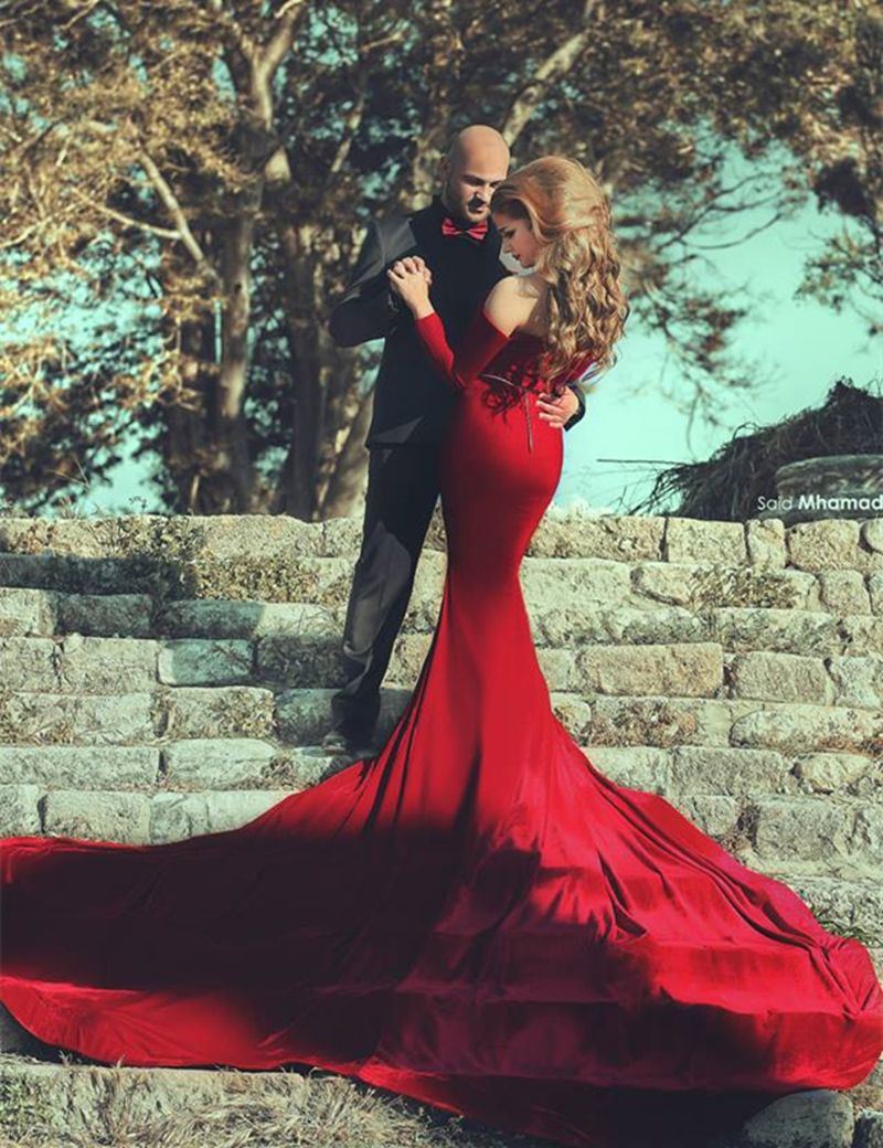 red wedding mermaid dress