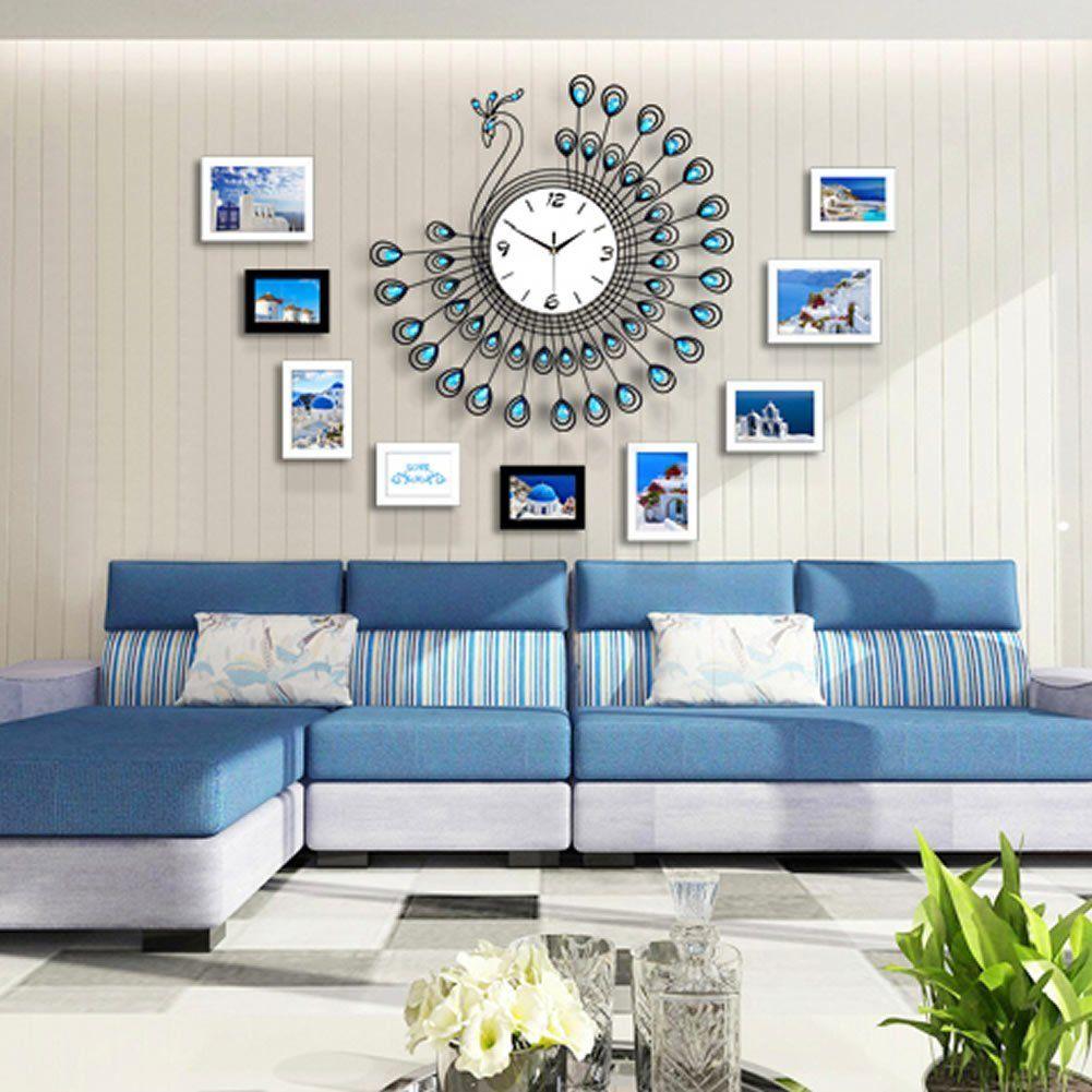 Ohtop luxury large d diamond peacock metal wall clock watch room