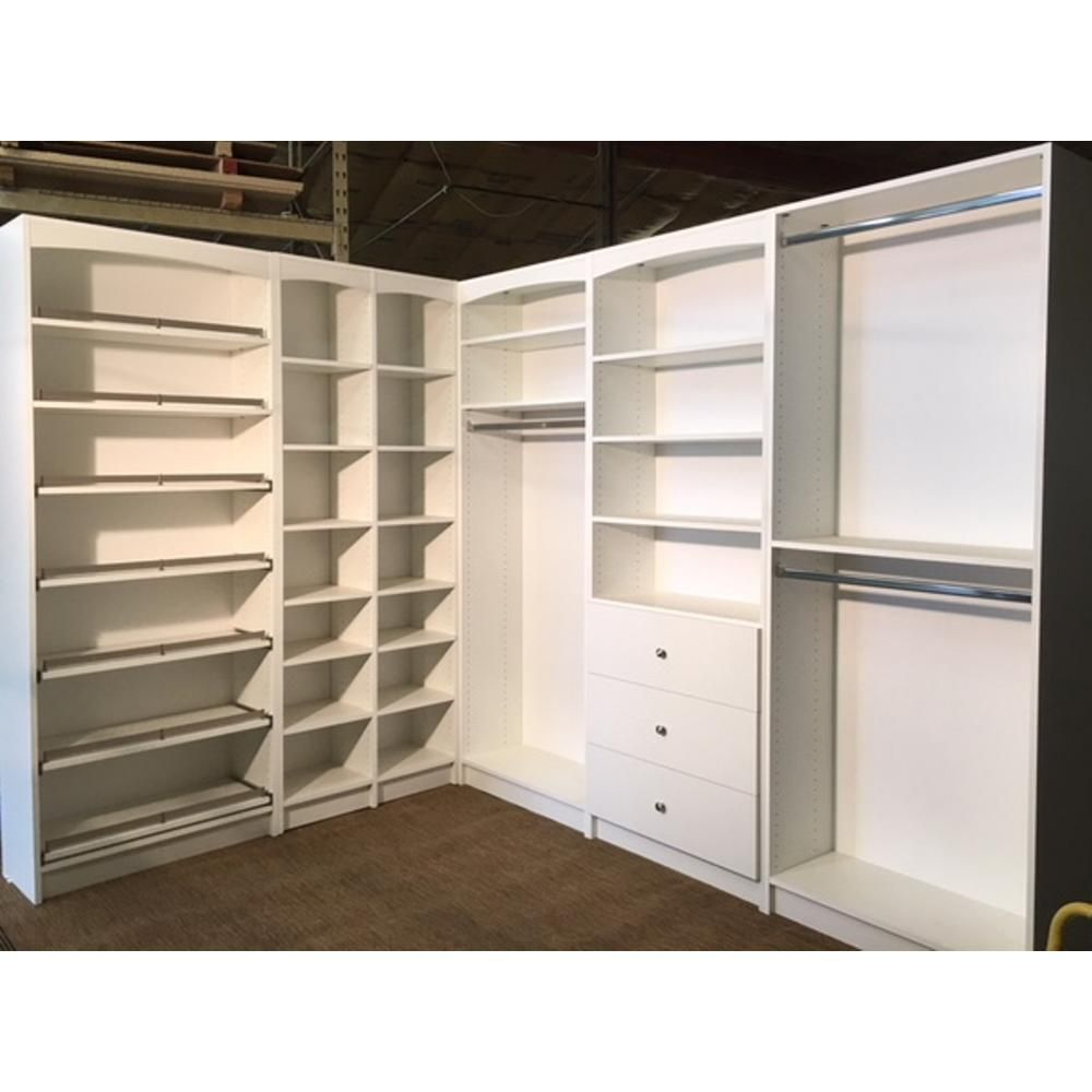 Walkin 14 In D X 159 5 In W X 84 In H Gray Woodfreestanding Closet System Several Adjustable Shelves E947833 The Home Depot Closet Layout Closet Renovation Closet Remodel