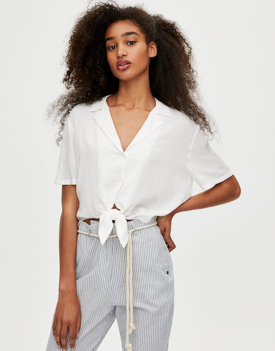 Short Sleeve Shirt With Front Knot Pull Bear Short Sleeve Shirt Fashion Outfits Clothing Care