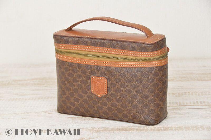 ba71df6b54ab CELINE Brown Macadam PVC   Leather Vanity Cosmetic Bag