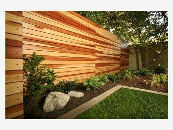 moderne gartengestaltung ideen holzmauer sichtschutz Garten