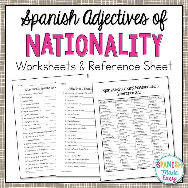 Spanish Adjectives Of Nationality Grammar Activities Spanish