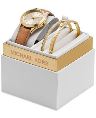 Michael Kors Women's Slim Runway Beige Luggage Leather Strap Watch 33mm Gift Set MK3427