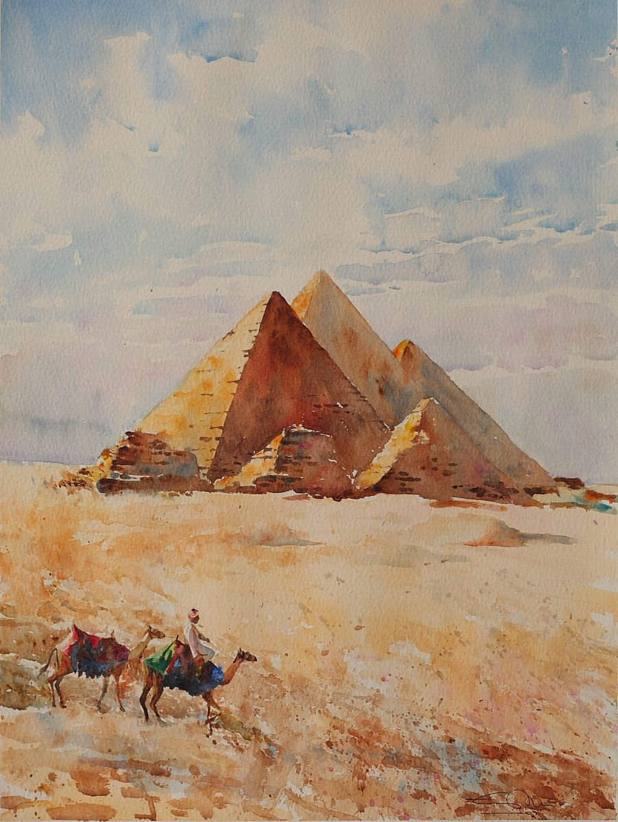 Pirámides de Giza-Antiguo Egipto Historia Fotos Lienzo Enmarcado Sunset Pared Arte