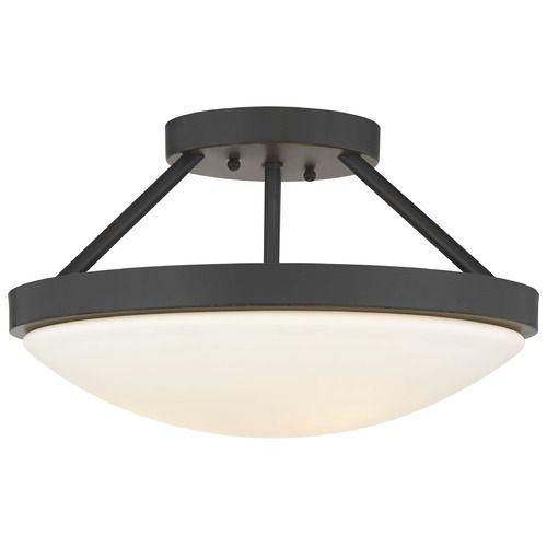 Bronze semi flushmount ceiling light with satin white glass