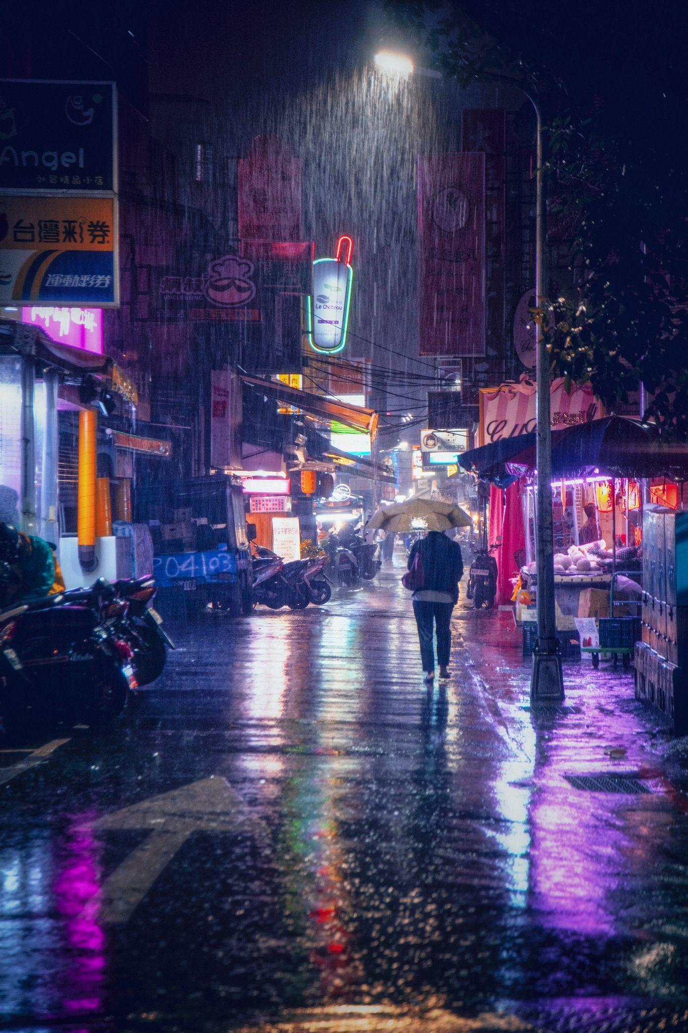 neon signs + rain, taipei, taiwan travel destinations in