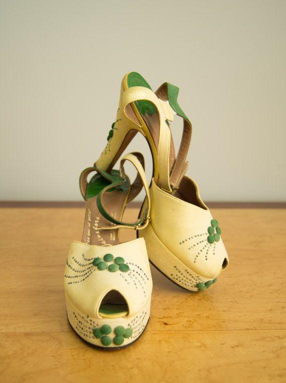 Vintage 1940s Shoes 40s Designer Platform Heels Etsy 1940s Shoes Vintage Shoes Retro Shoes