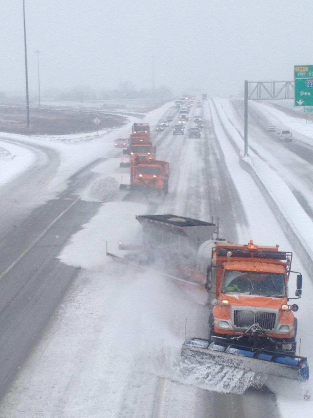 DOT Snowplows working the interstate.The best way to plow