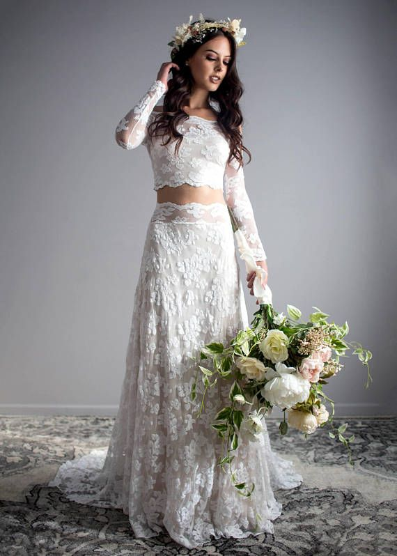 85aa5f9b1141 Two Piece Wedding Dress Long Sleeve Wedding Dress Off | Agree to ...