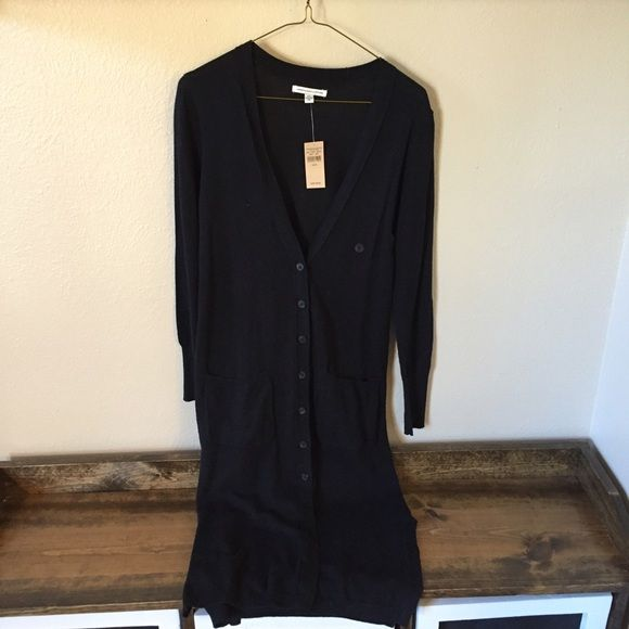 American Eagle Long Black Knit Button Cardigan | Black knit, Long ...
