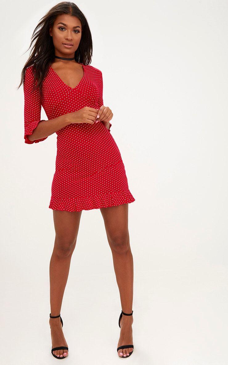 fa08bf6268dc Red Polka Dot Frill Hem Shift Dress | Holiday | Dresses, Polka dots, Red