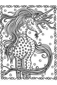 Раскраска Единорог в цветах, пчелы и бабочки распечатать ...