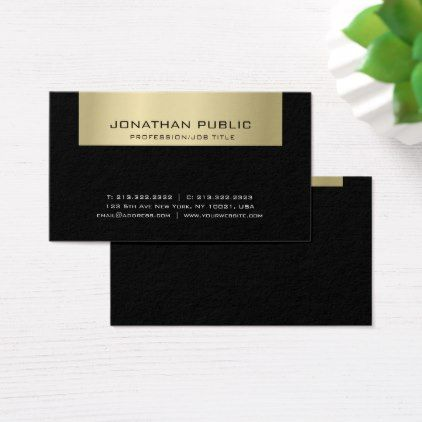 Elegant plain professional black gold chic modern business card elegant plain professional black gold chic modern business card stylish gifts unique cool diy customize stylish pinterest reheart Images