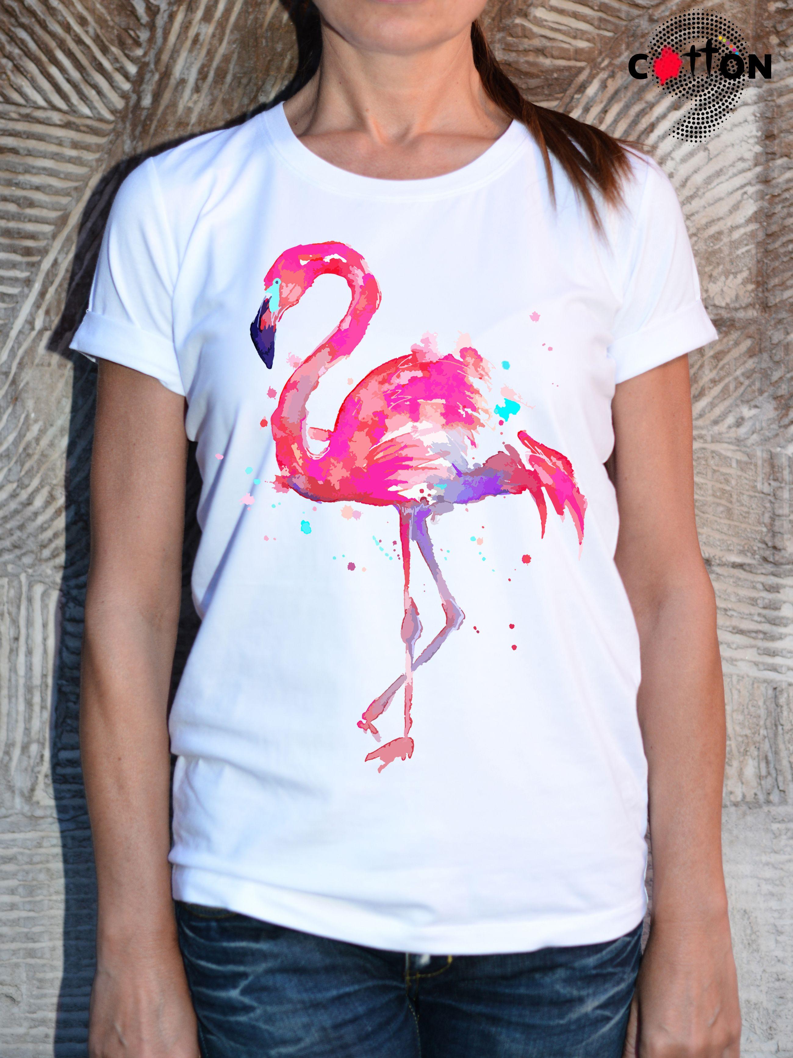 b8ce0d329 Pink Flamingo Print Art Cotton T-Shirt | Animal Print T-Shirts by ...