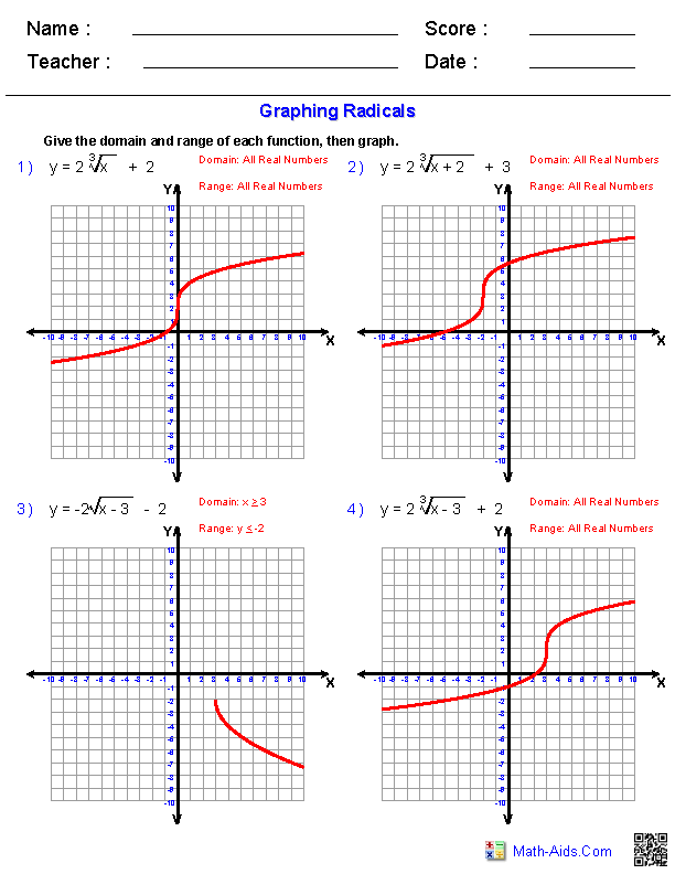 Graphing Radicals Worksheets | Expanding Our Minds - Educational ...