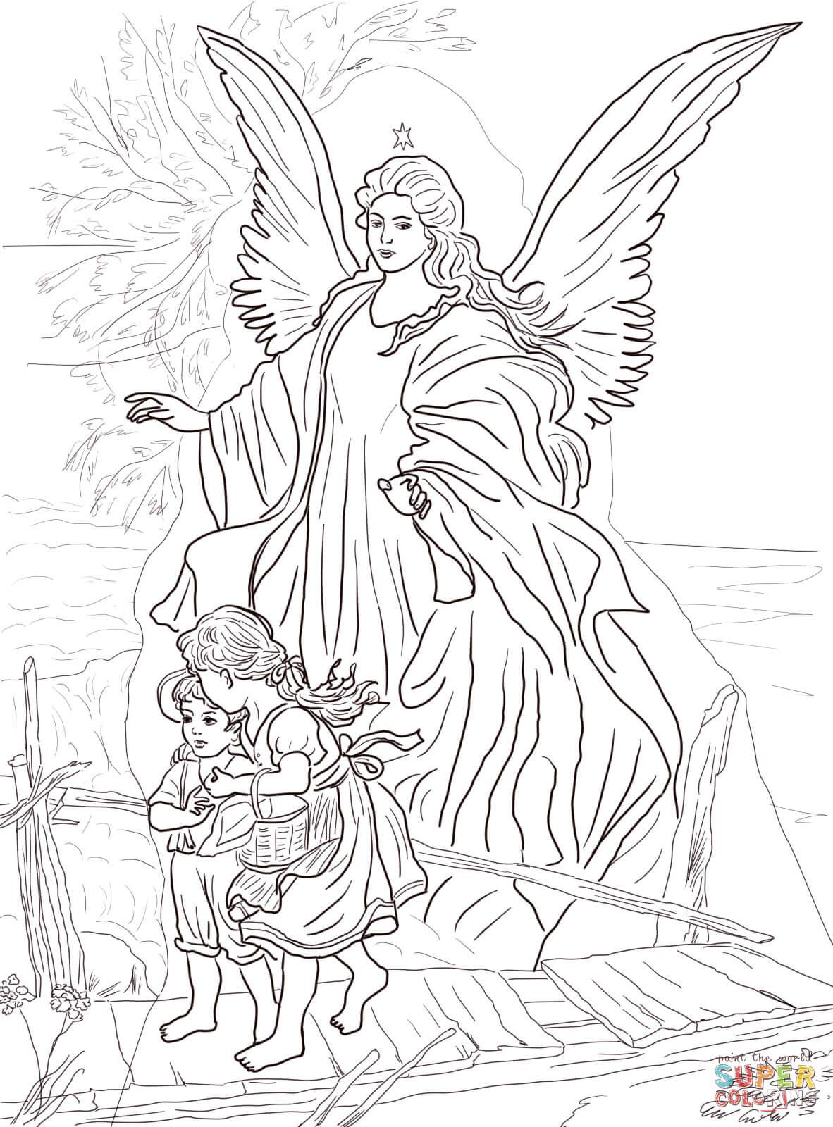 coloring pages of sky scene | ... by Guardian Angel Coloring page ...