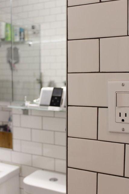 white tiles, dark grout