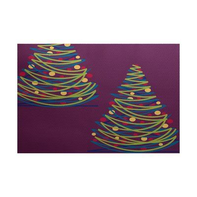 The Holiday Aisle Purple Indoor/Outdoor Area Rug Rug Size: 3' x 5'