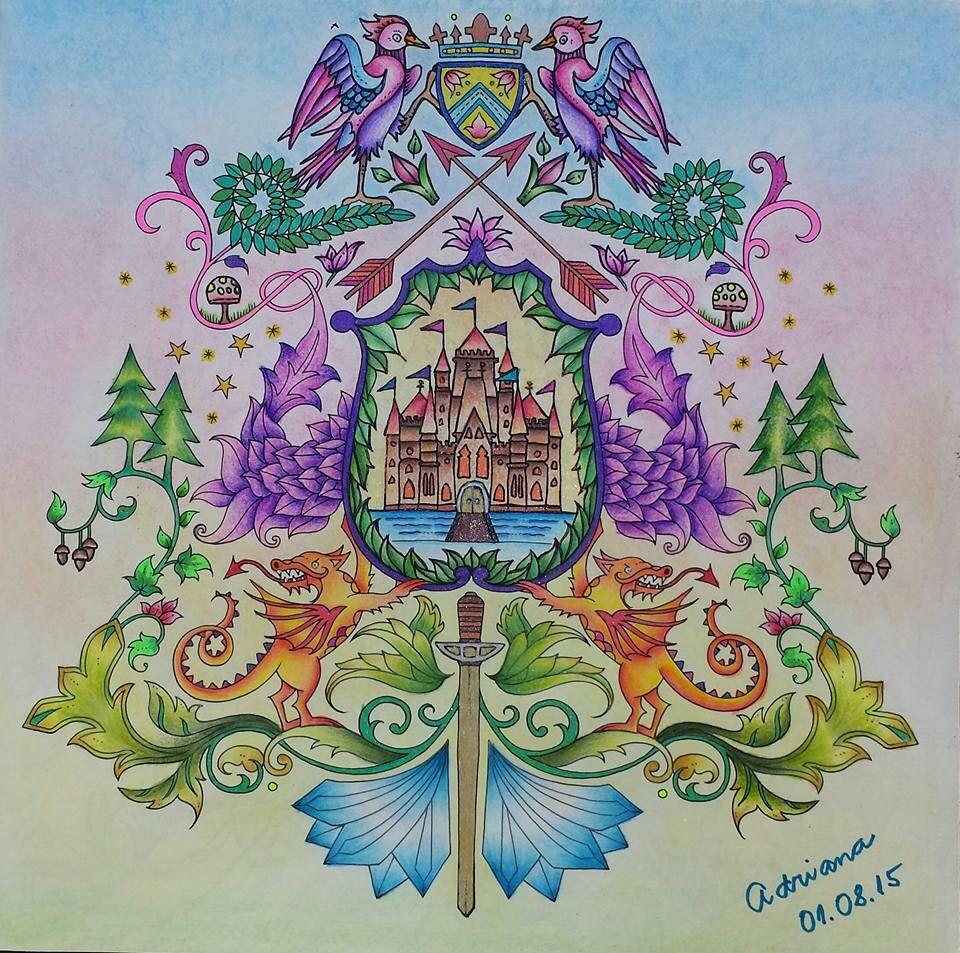 Zendoodle coloring enchanting gardens - Coat Of Arms Castle Enchanted Forest Bras O Castelo Floresta Encantada Johanna Basford