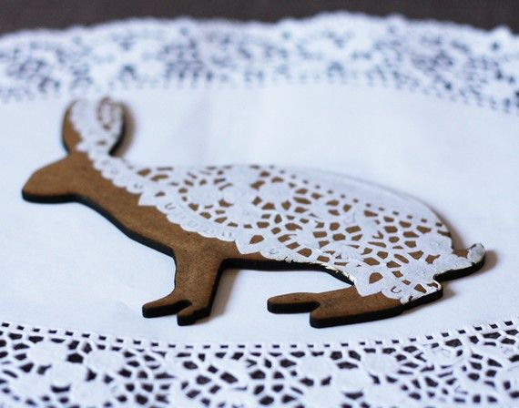 doily bunny ornament