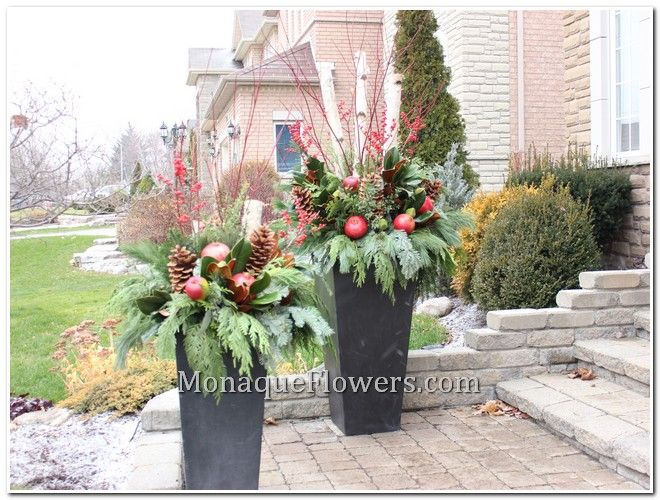 Decorating Urns For Christmas Gorgeous Outdoors Winter Arrangements  Winter Outdoor Urn