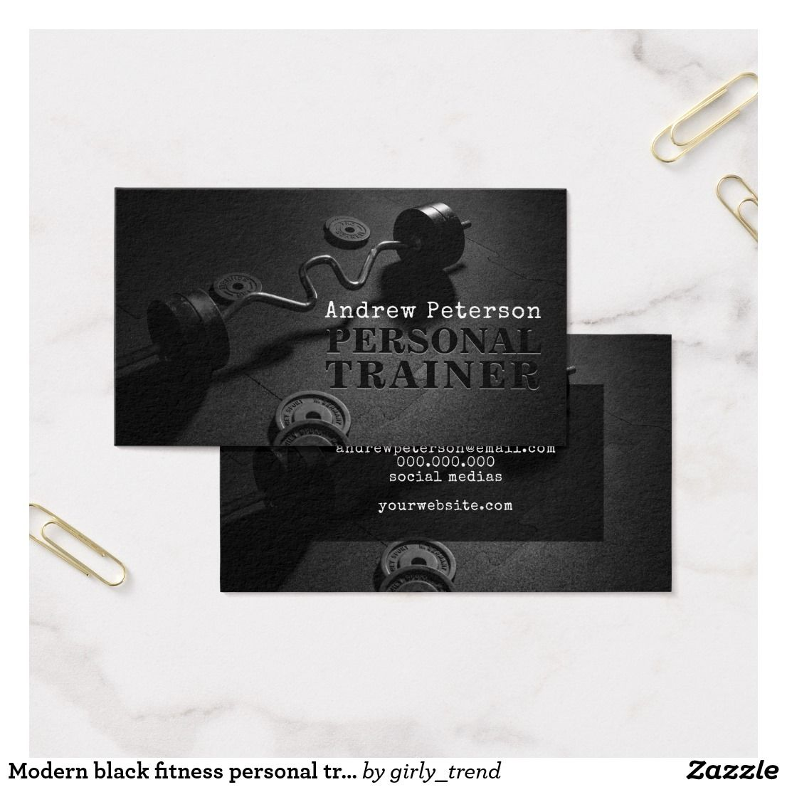 Modern black fitness personal trainer workout business card | Black ...