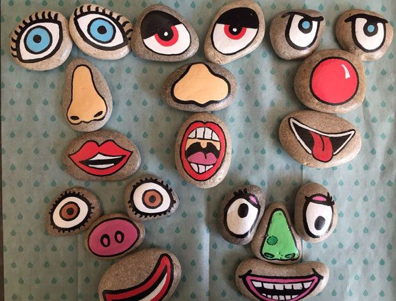 A set of funny face story stones hand painted on beach pebbles. The set includes 20 eyes, noses and mouths to create 4 sets of funny faces. The story stones are made to order so can be customized on request. The stones are not suitable for children under 3 due to size. #face