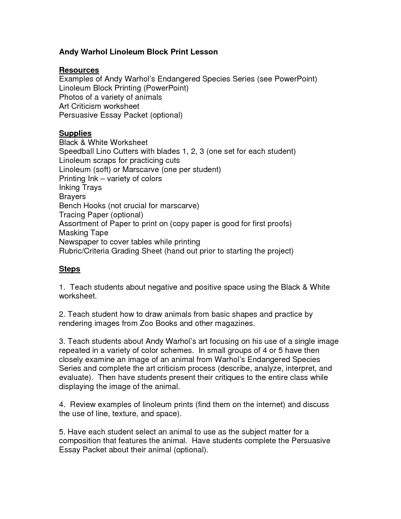 Lino Block Printing Worksheet