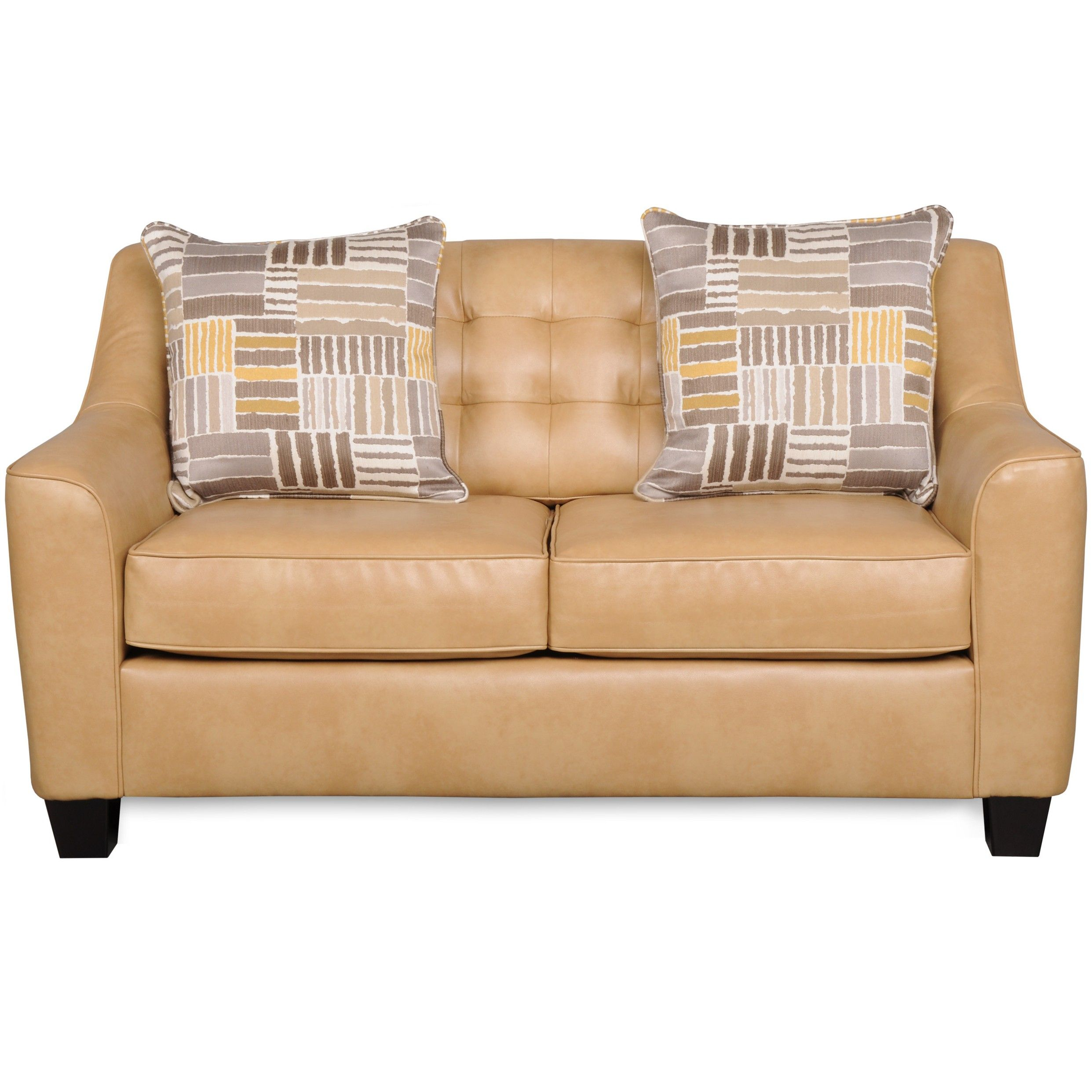 Living Room Furniture Modern Light Brown Leather Love Seat ...