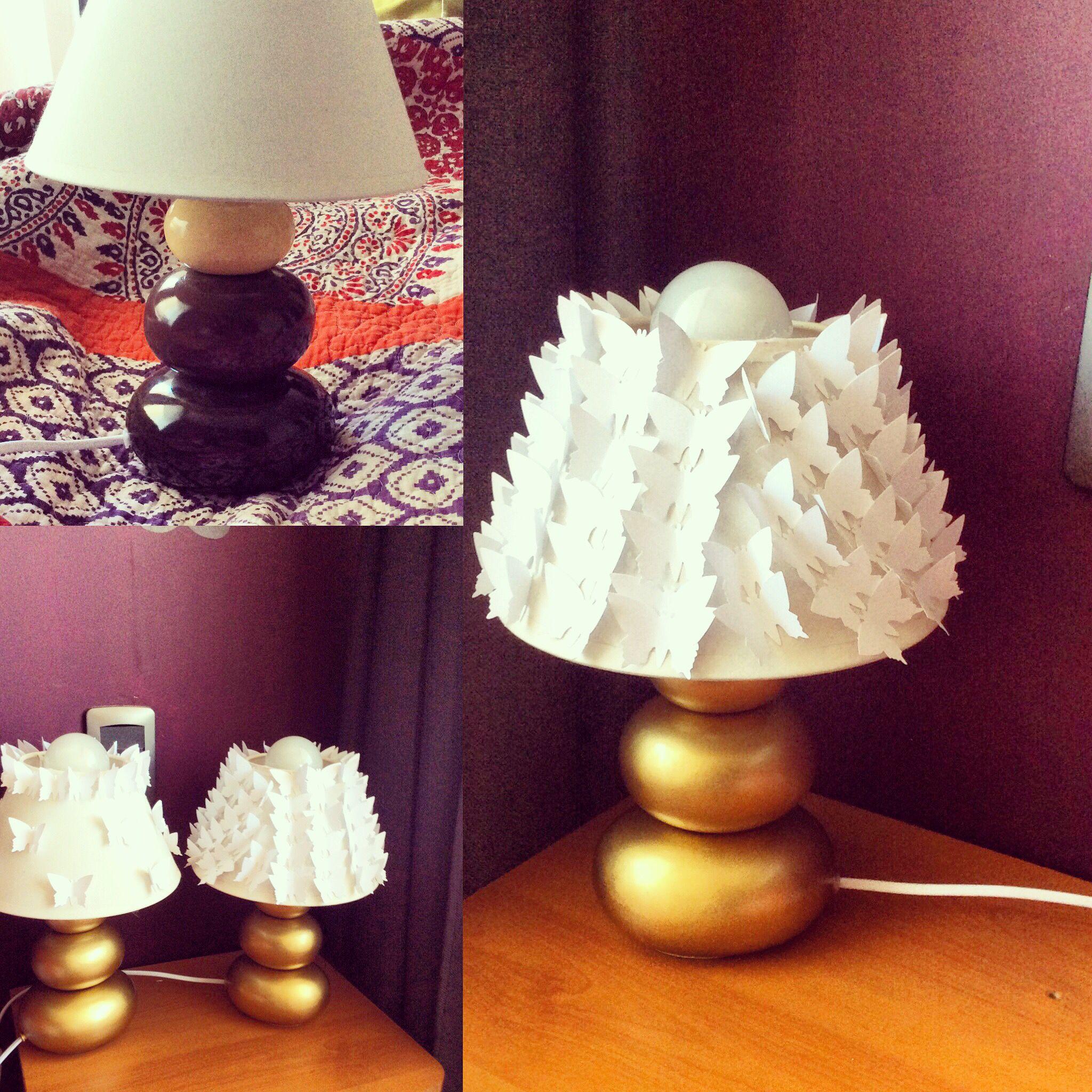 Lámparas renovadas con cartulina y pintura dorada