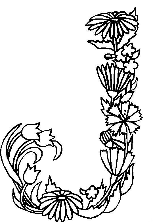 Kleurplaten Letter J.Coloring Page Alphabet Flowers Kids N Fun Embroidery Monograms