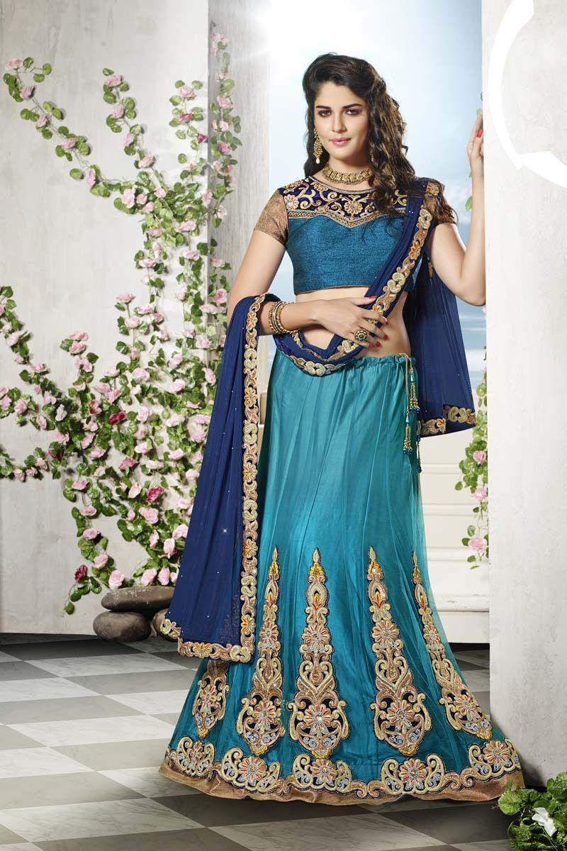 Blue Net Wedding Chaniya Choli | Dream Chuniya choli\'s | Pinterest ...