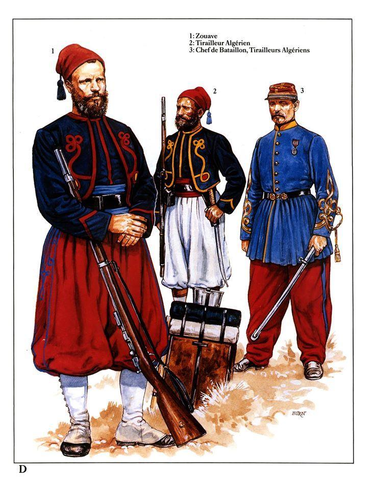 1 Zouave 2 Tirailleur Algerien 3 Chef De Battaillon