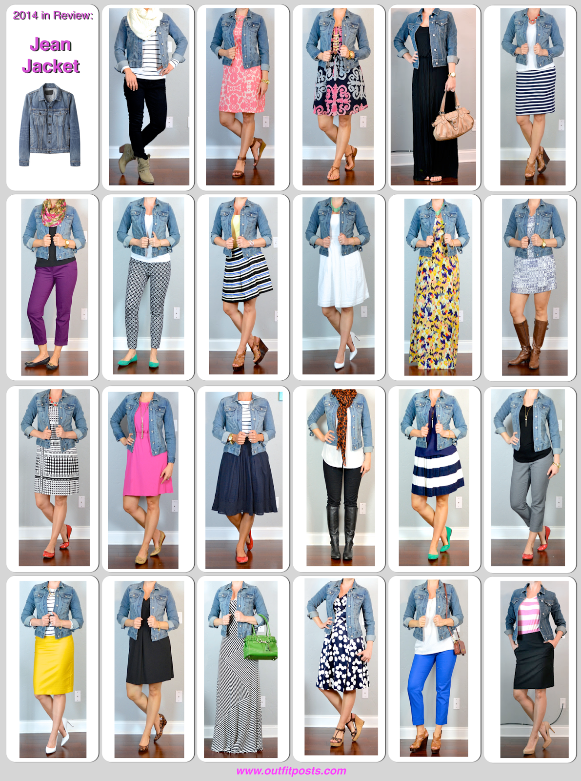 2014 in review - outfit posts: jean jacket - 23 ways | Outfit Posts Dynamic #jeanjacketoutfits