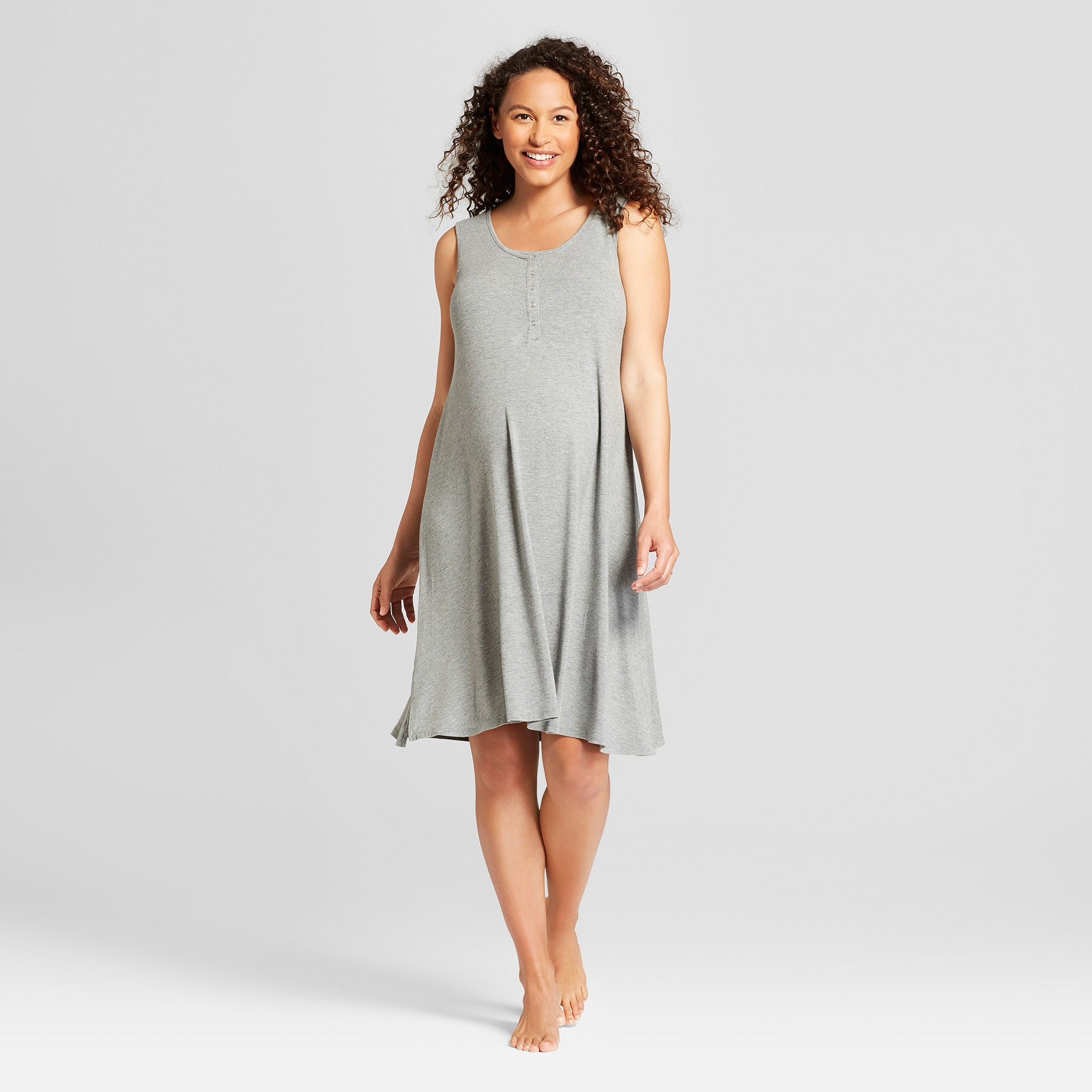 a00a2f838ace9 Maternity Short Sleeve Nursing Henley Dress - Isabel Maternity by Ingrid &  Isabel Medium Heather Gray S