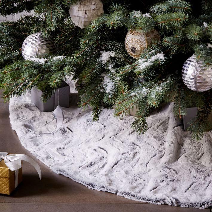 Faux Fur Tree Skirt, Stone White Swirl | happy christmas ...