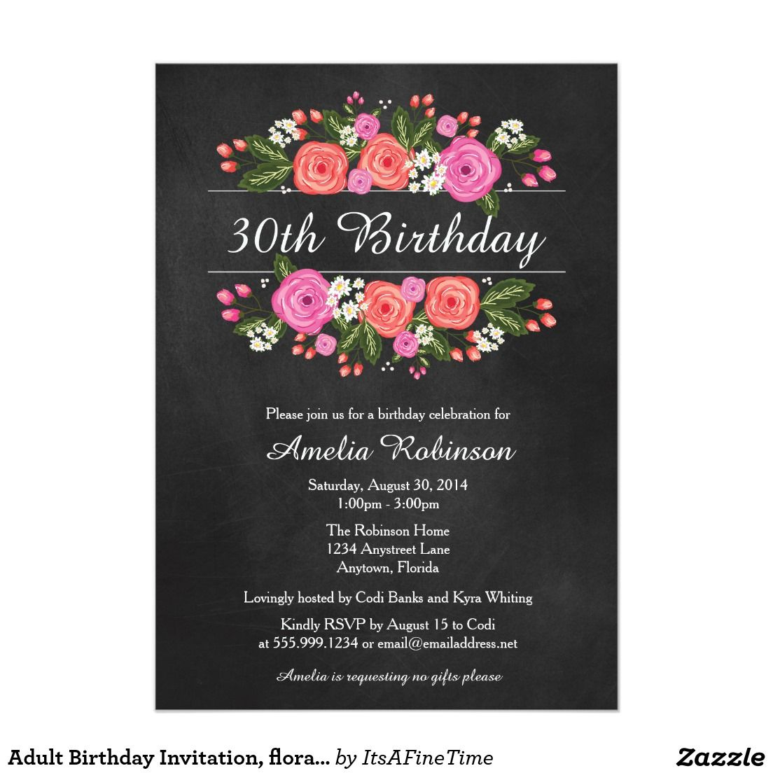 Adult Birthday Invitation, floral chalkboard style Card